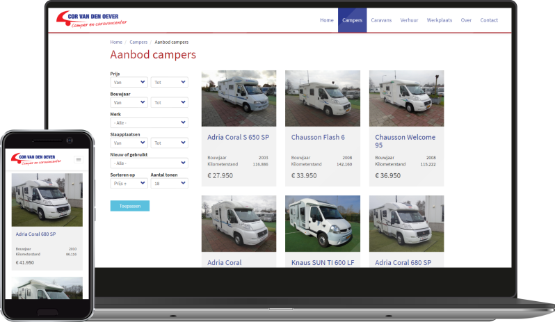 Cor van den Oever - Caravancenter screenshot aanbod
