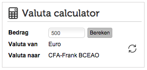 Valuta calculator per valuta pagina