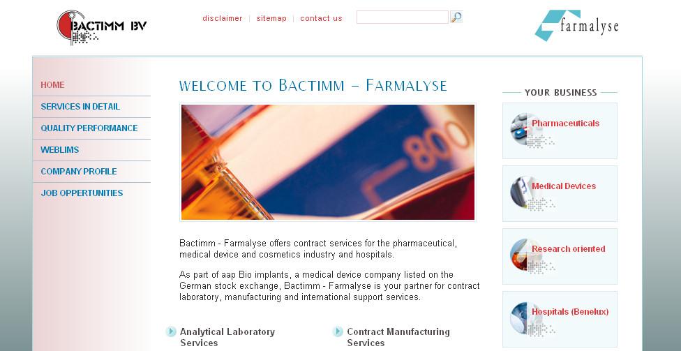 Detail van de website Bactimm - Farmalyse