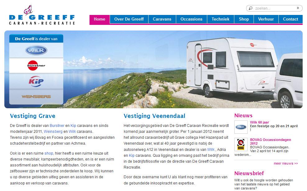 Detail van de Drupal website De Greeff Caravan en Recreatie