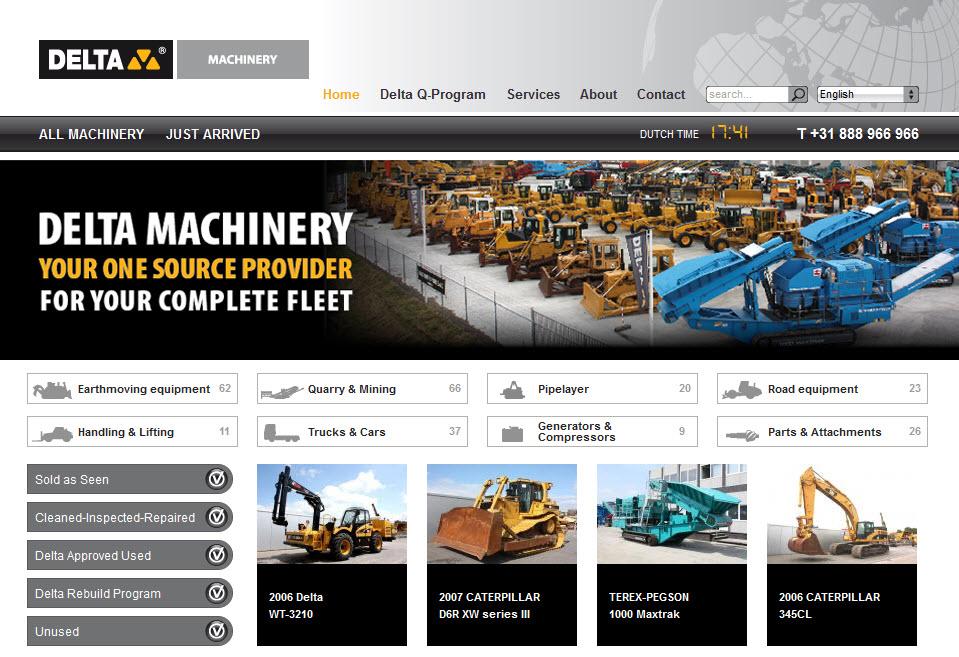 Detail van de Drupal website Delta Machinery