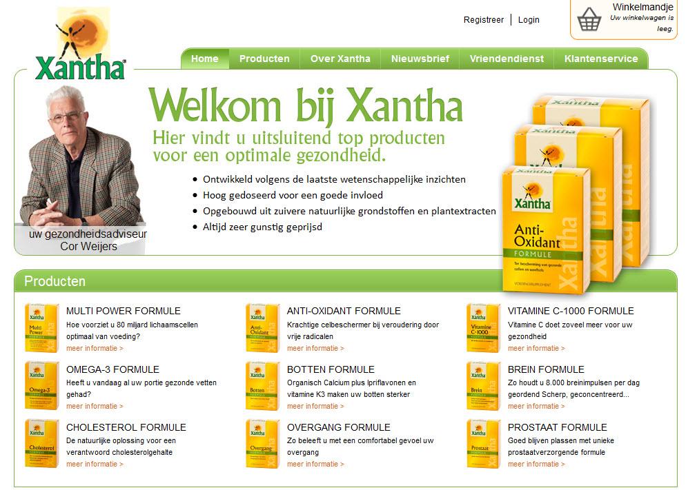 Detail van de Drupal Ubercart website Xantha Voedingssupplementen