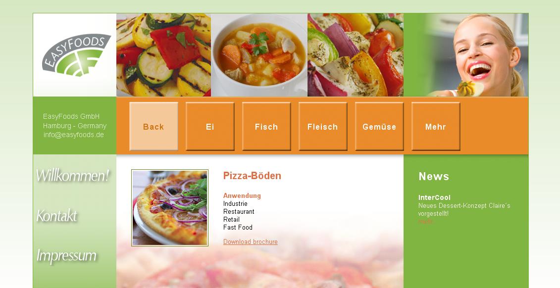 Detail van de website van Easyfoods