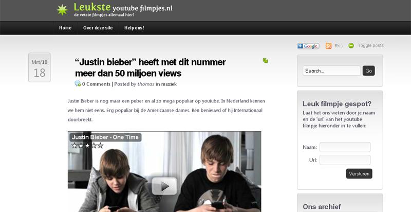 Detail van de website van LeuksteYoutubeFilmpjes