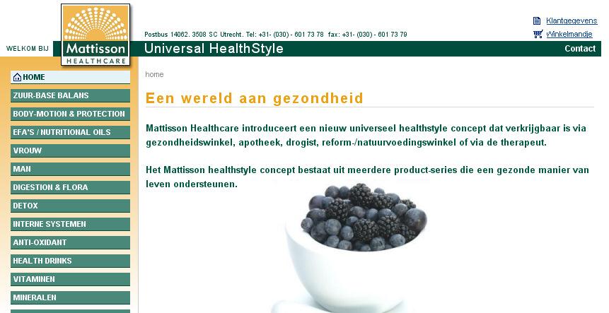 Detail van de website van Mattisson Healthcare