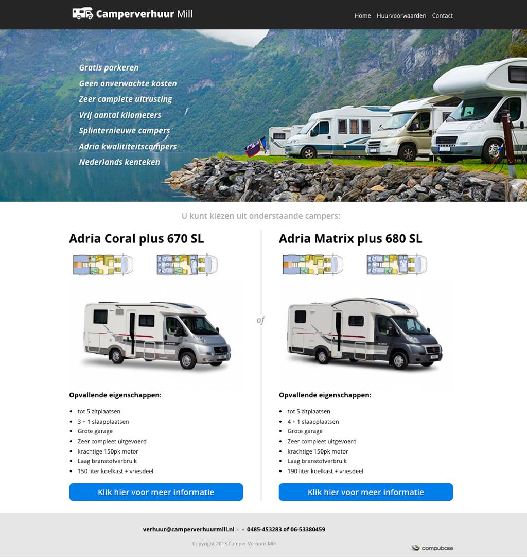 Website Camperverhuur Mill door Compubase