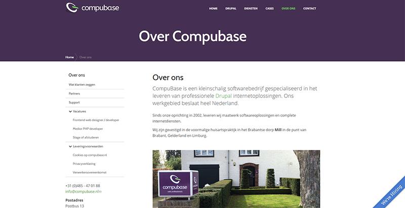 Detail van onze website CompuBase