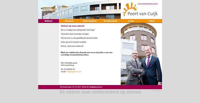 Detail van de website Poort van Cuijk