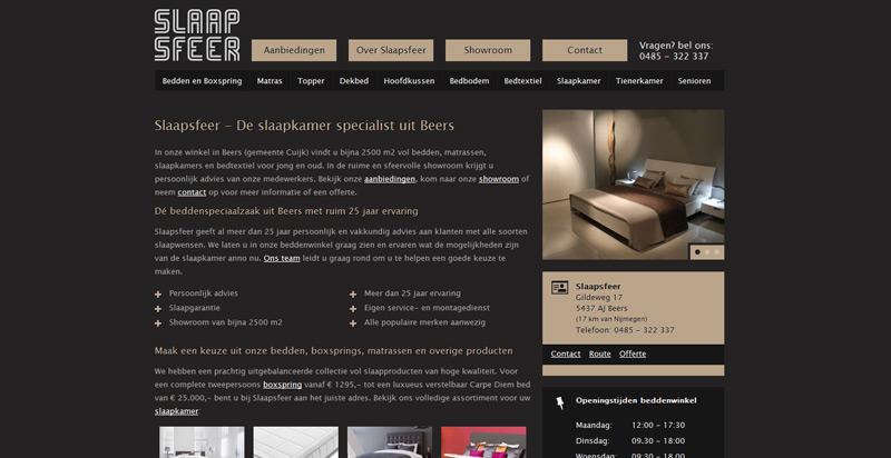 Detail van de website Slaapsfeer