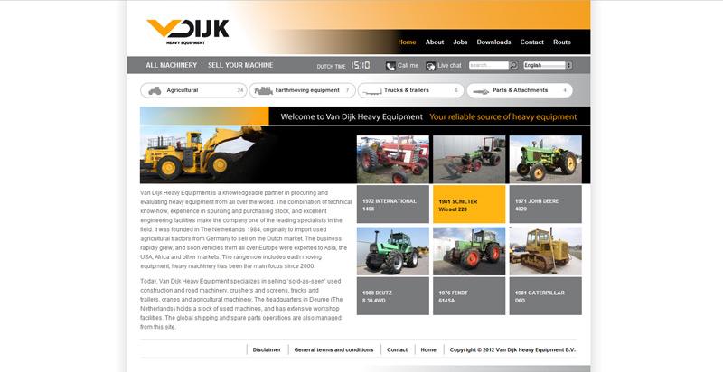 Detail van de Drupal website Van Dijk Heavy Equipment
