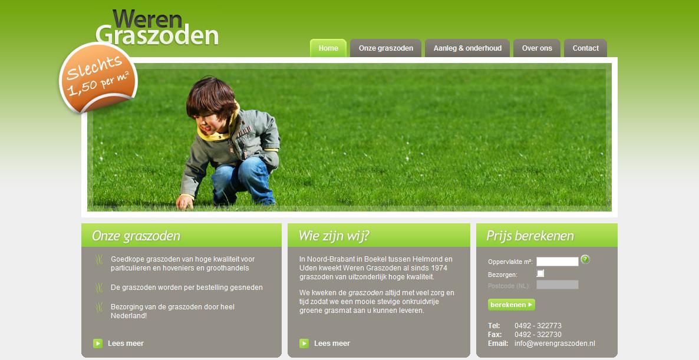 Detail van de website van Weren Graszoden