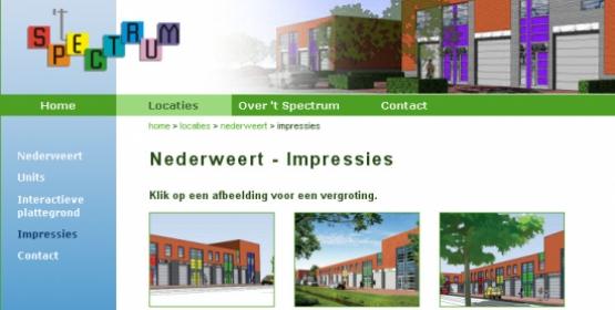 Detail van de website Bedrijfsunits Spectrum