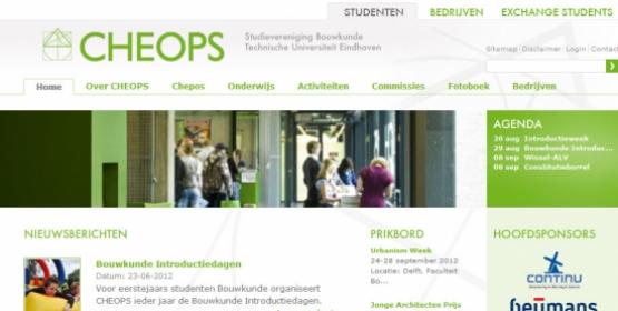 Detail van de Drupal website van CHEOPS