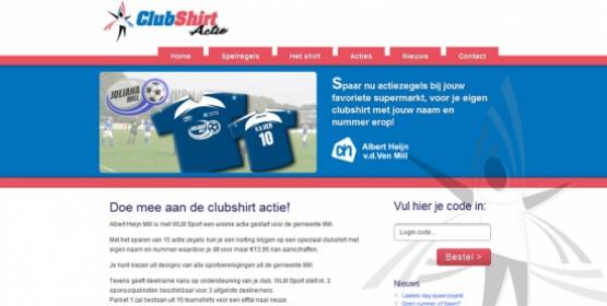Detail van de website van Clubshirt Actie