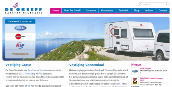 Detail van de Drupal website De Greeff Caravan en Recreatie
