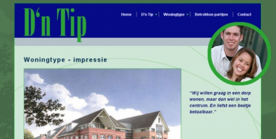 Detail van de website van nieuwbouwproject D'n Tip