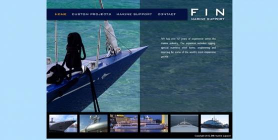 Detail van de website FIN Marine Support