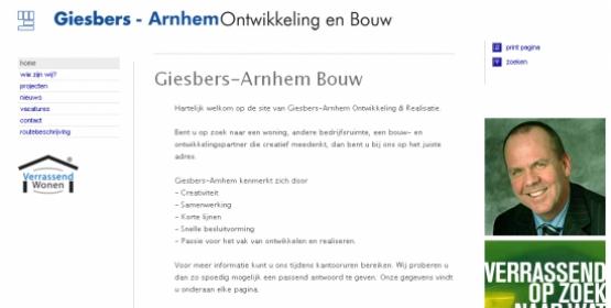 Detail van de website van Giesbers-Arnhem Bouw