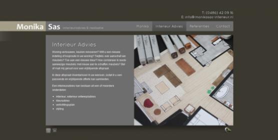 Detail van de website Monika Sas interieuradvies & realisatie