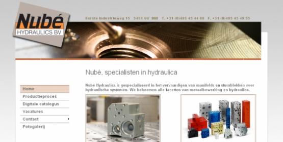 Detail van de website van Nubé Hydraulics