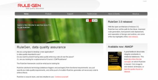 Detail van de website van RuleGen