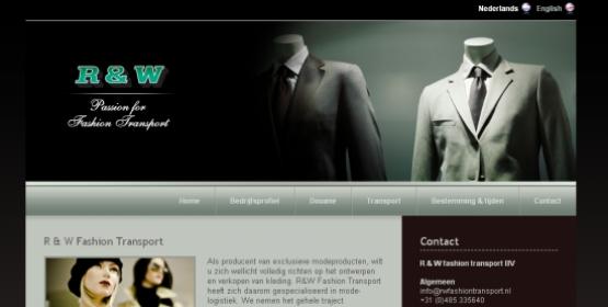 Detail van de website R en W Fashion Transport