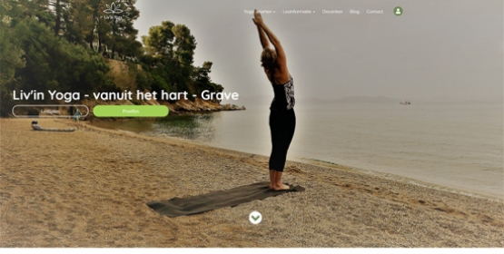 Detail van de website Liv'in Yoga