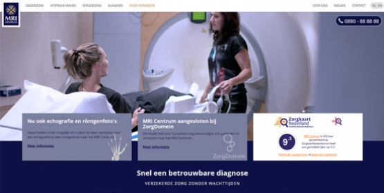 Detail van de website MRI Centrum