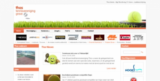 Detail van de website Tennisvereniging Thos