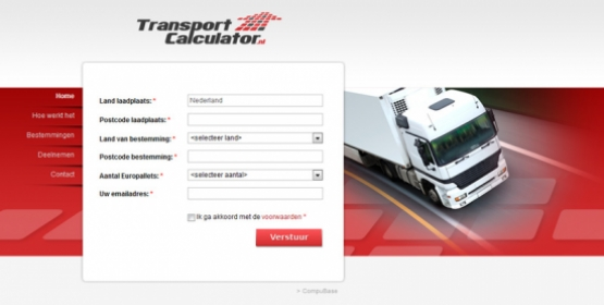 Detail van de website Transport calculator