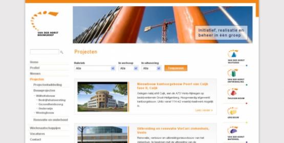 Detail van de website van Van der Horst Bouwgroep