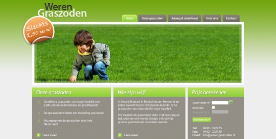 Detail van de website van Weren Graszoden